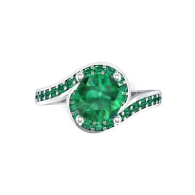 Embrace Pave Emerald Bypass Engagement Ring (1.52 CTW) Top Flat View
