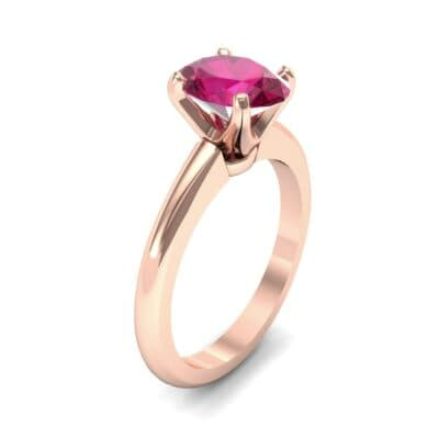 Modern Tulip Oval Solitaire Ruby Engagement Ring (1.8 Carat)
