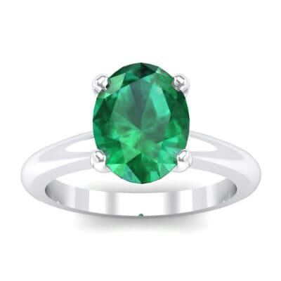 Modern Tulip Oval Solitaire Emerald Engagement Ring (1.8 Carat)