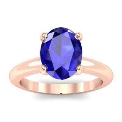 Modern Tulip Oval Solitaire Blue Sapphire Engagement Ring (1.8 Carat)