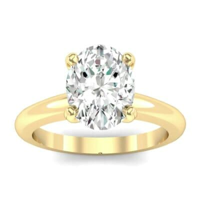 Modern Tulip Oval Solitaire Diamond Engagement Ring (1.2 Carat)