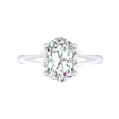 Modern Tulip Oval Solitaire Crystal Engagement Ring (1.2 CTW) Top Flat View