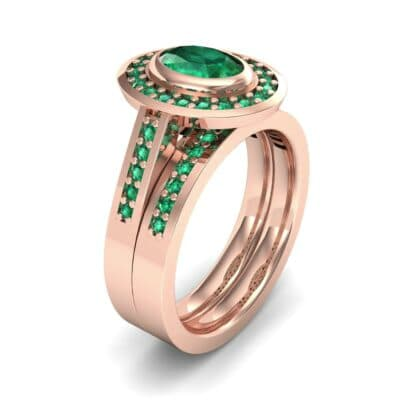 Bezel-Set Halo Oval Emerald Engagement Ring (1.78 Carat)