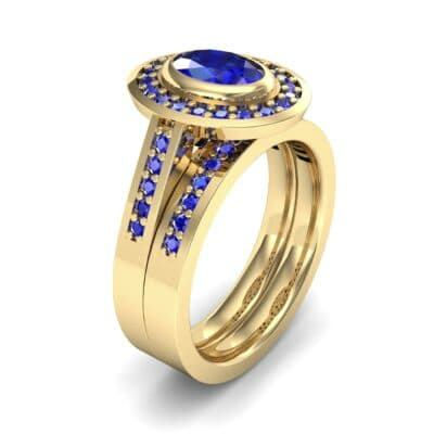 Bezel-Set Halo Oval Blue Sapphire Engagement Ring (1.78 Carat)