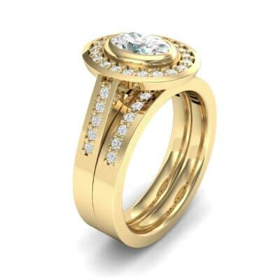 Bezel-Set Halo Oval Diamond Engagement Ring (1.21 Carat)