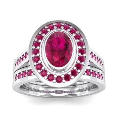 Bezel-Set Halo Oval Ruby Engagement Ring (1.78 Carat)