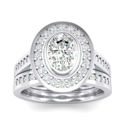 Bezel-Set Halo Oval Crystals Engagement Ring (1.21 Carat)