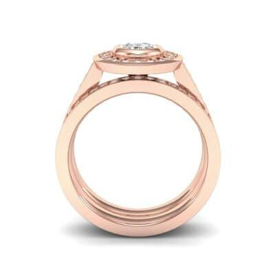 Bezel-Set Halo Oval Diamond Engagement Ring (1.21 CTW) Side View