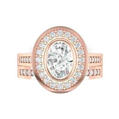 Bezel-Set Halo Oval Diamond Engagement Ring (1.21 CTW) Top Flat View