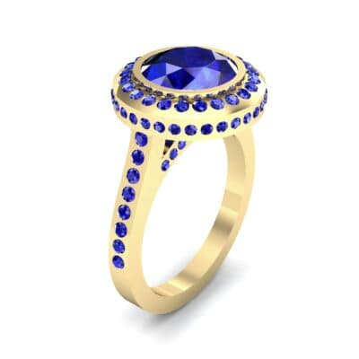 Vintage Halo Bezel-Set Blue Sapphire Engagement Ring (2.36 Carat)