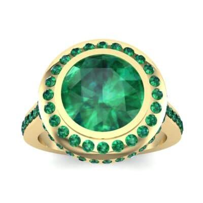 Vintage Halo Bezel-Set Emerald Engagement Ring (2.36 Carat)