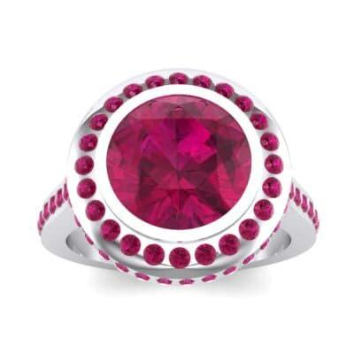 Vintage Halo Bezel-Set Ruby Engagement Ring (2.36 Carat)