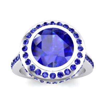 Vintage Halo Bezel-Set Blue Sapphire Engagement Ring (2.36 Carat)