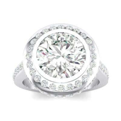 Vintage Halo Bezel-Set Diamond Engagement Ring (1.63 Carat)