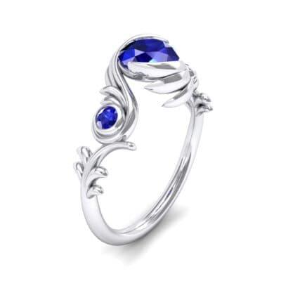 Sunflower Three-Stone Blue Sapphire Engagement Ring (1.05 Carat)