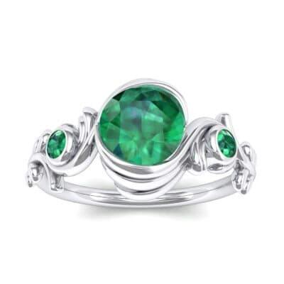 Sunflower Three-Stone Emerald Engagement Ring (1.05 Carat)