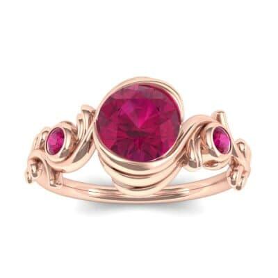 Sunflower Three-Stone Ruby Engagement Ring (1.05 Carat)