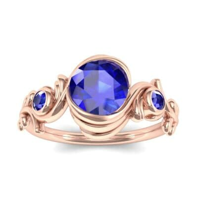 Sunflower Three-Stone Blue Sapphire Engagement Ring (1.05 Carat)