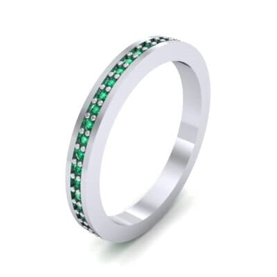 Thin Flat-Sided Pave Emerald Eternity Ring (0.47 Carat)