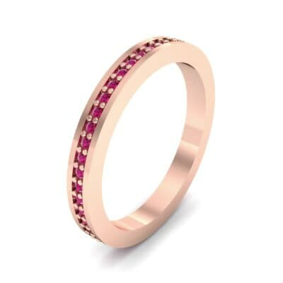 Thin Flat-Sided Pave Ruby Eternity Ring (0.47 Carat)