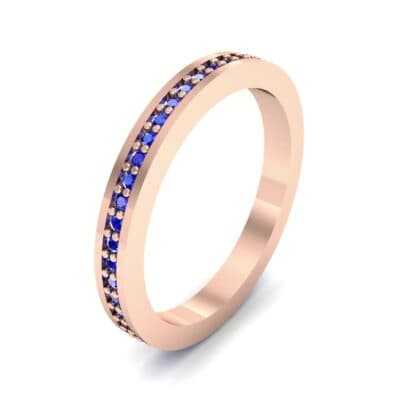 Thin Flat-Sided Pave Blue Sapphire Eternity Ring (0.47 Carat)