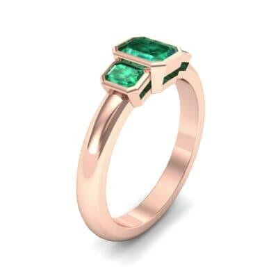 Emerald Bezel Three-Stone Emerald Engagement Ring (0.76 Carat)