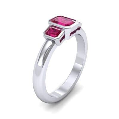 Emerald Bezel Three-Stone Ruby Engagement Ring (0.76 Carat)