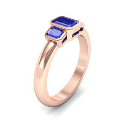 Emerald Bezel Three-Stone Blue Sapphire Engagement Ring (0.76 Carat)