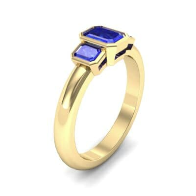 Emerald Bezel Three-Stone Blue Sapphire Engagement Ring (0.76 Carat)
