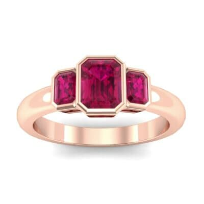 Emerald Bezel Three-Stone Ruby Engagement Ring (0.76 Carat)