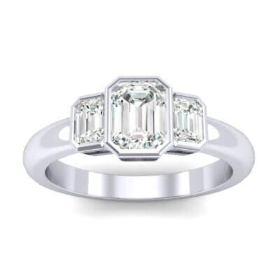 Emerald Bezel Three-Stone Diamond Engagement Ring (0.76 Carat)