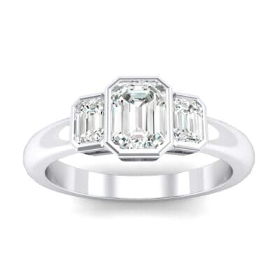 Emerald Bezel Three-Stone Diamond Engagement Ring (0.76 Carat)