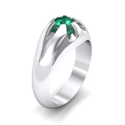 Rosebud Solitaire Emerald Engagement Ring (0.7 Carat)