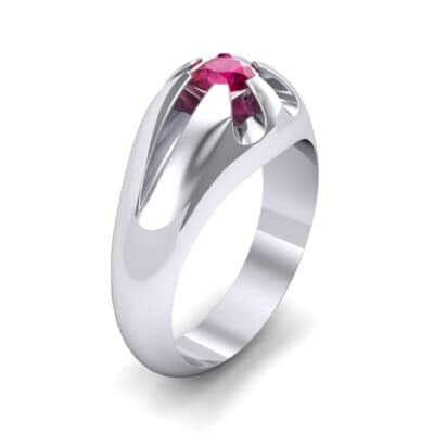 Rosebud Solitaire Ruby Engagement Ring (0.7 Carat)