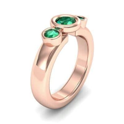 Mod Bezel Three-Stone Emerald Engagement Ring (1.1 Carat)