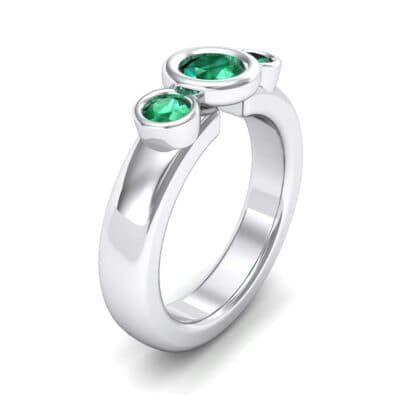 Mod Bezel Three-Stone Emerald Engagement Ring (1.1 Carat)