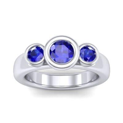 Mod Bezel Three-Stone Blue Sapphire Engagement Ring (1.1 Carat)