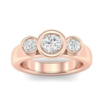 Mod Bezel Three-Stone Diamond Engagement Ring (0.8 Carat)