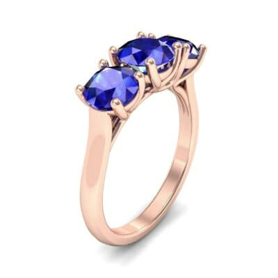 V Basket Trilogy Blue Sapphire Engagement Ring (2.6 CTW) Perspective View