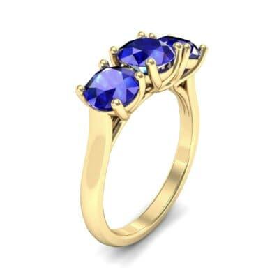 V Basket Trilogy Blue Sapphire Engagement Ring (2.6 Carat)