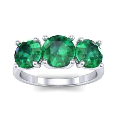 V Basket Trilogy Emerald Engagement Ring (2.6 Carat)