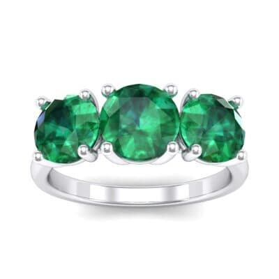 V Basket Trilogy Emerald Engagement Ring (2.6 Carat)