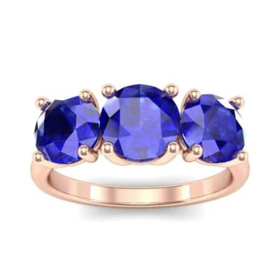 V Basket Trilogy Blue Sapphire Engagement Ring (2.6 CTW) Top Dynamic View