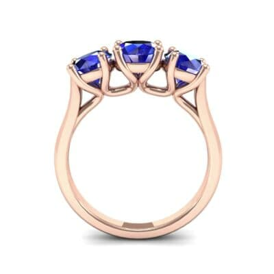 V Basket Trilogy Blue Sapphire Engagement Ring (2.6 CTW) Side View