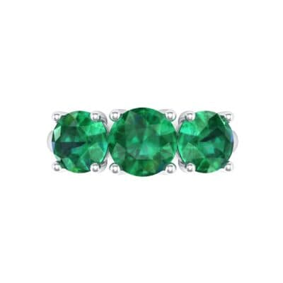 V Basket Trilogy Emerald Engagement Ring (2.6 CTW) Top Flat View