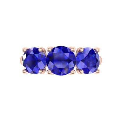 V Basket Trilogy Blue Sapphire Engagement Ring (2.6 CTW) Top Flat View