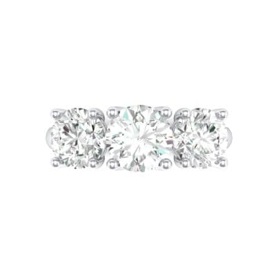 V Basket Trilogy Crystal Engagement Ring (1.2 CTW) Top Flat View