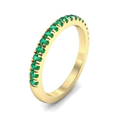 Fishtail Pave Emerald Ring (0.38 Carat)