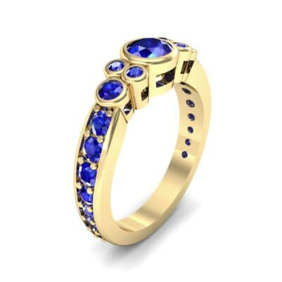 Bezel Accent Blue Sapphire Engagement Ring (1.43 Carat)