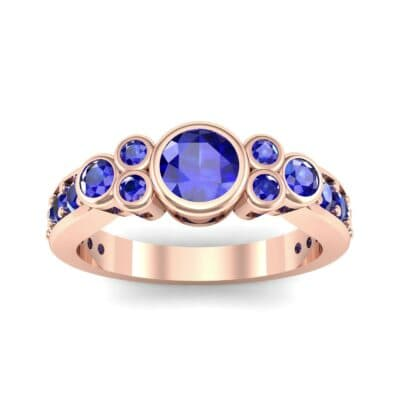 Bezel Accent Blue Sapphire Engagement Ring (1.43 Carat)